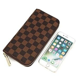 Checkered Zip Around Wallet